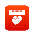 wedding date day on calendar icon digital red vector image vector image