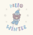 winter postcard with quotes and phrases funny vector image vector image