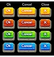 Cartoon colorful stone square buttons for game vector image