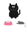 Cute black cat with mouse and plate Flat design vector image
