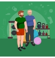 Fat man Young old cartoon style fitness people vector image