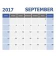 2017 September calendar week starts on Sunday vector image vector image