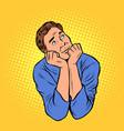 a man dreams thinking and pondering vector image