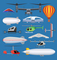 aircraft drone jet and airship helicopter vector image vector image