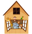 Animals and barn vector image
