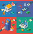atm isometric compositions with hands vector image