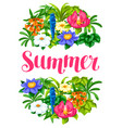 background with tropical flowers exotic tropical vector image