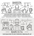 barista banner set outline style vector image