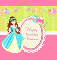 birthday invitation card with cute princess vector image