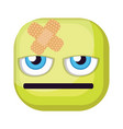 bored green square emoji face with bandaid