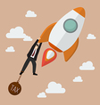 Businessman try hard to hold on a rocket with tax vector image vector image
