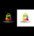 camera shop logo design vector image vector image