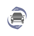 car logo with circle hand insurance concept vector image vector image