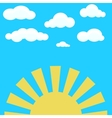 Clouds on blue sky and yellow rising sun vector image vector image