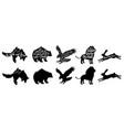 collection wild animal silhouettes bear fox vector image