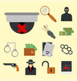 crime icons protection law justice sign security vector image