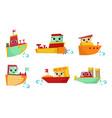 cute kawaii ship cartoon character set adorable vector image