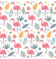 cute seamless pattern with flamingo vector image