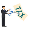 deduction banner man and scissors on vector image vector image