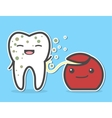 Dental floss cleaning dirty tooth vector image vector image