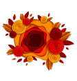 design with autumn flowers and leaves paper cut vector image