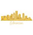 Edmonton canada city skyline golden silhouette