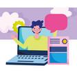 education online laptop computer diploma speech vector image vector image