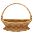 Empty wicker basket with handle Straw basket vector image vector image