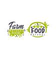 farm natural food logo templates design fresh vector image