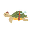 funny cartoon turtle pirate in a hat with a sword vector image vector image