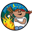 Girl roasting marshmellow vector image vector image