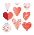 Graphic set of hearts on a white background vector image vector image