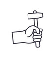 hand with hammer line icon sign vector image