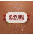 Happy Holi Festival of Color Card with Ribbon vector image