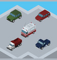 isometric transport set of freight first-aid suv vector image vector image