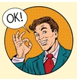 joyful businessman ok gesture circular frame vector image vector image