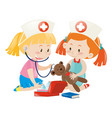 kids playing nurse with doll vector image