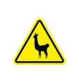 lama warning sign yellow llama hazard attention vector image vector image