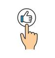 like button click color icon vector image