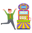 lucky man gambling in casino 777 machine vector image vector image