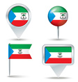 Map pins with flag of Equatorial Guinea vector image vector image
