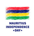 mauritius independence day lettering with grunge vector image vector image