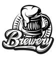 monochrome with beer mug and vector image