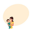 mother holding and feeding her baby son with milk vector image vector image