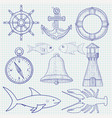 nautical symbols collection hand drawn doodles vector image vector image