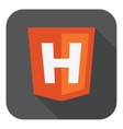 orange shield html five sign letter H on the vector image vector image