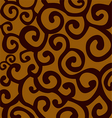 Pattern with brown and yellow stylish spiral curls vector image
