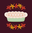 pie apple of thanksgiving day with leafs vector image vector image