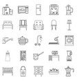 room icons set outline style vector image vector image