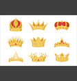 royal golden crowns set symbols power the vector image